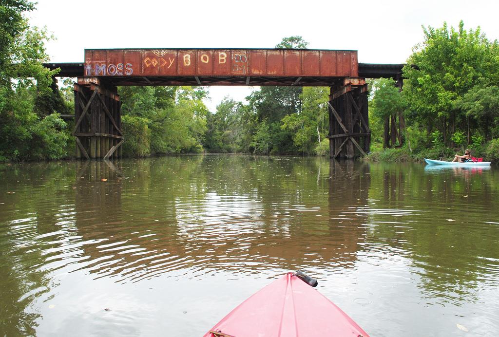 Kayaks & Pony Girder Railroad Bridge ove by Patrick Feller, on Flickr