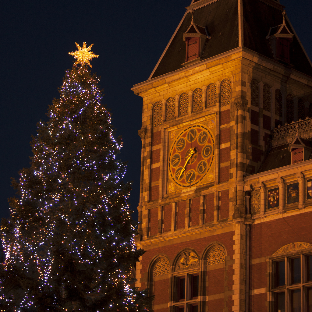 Christmas tree in front of Amsterdam Cen by Kitty Terwolbeck, on Flickr