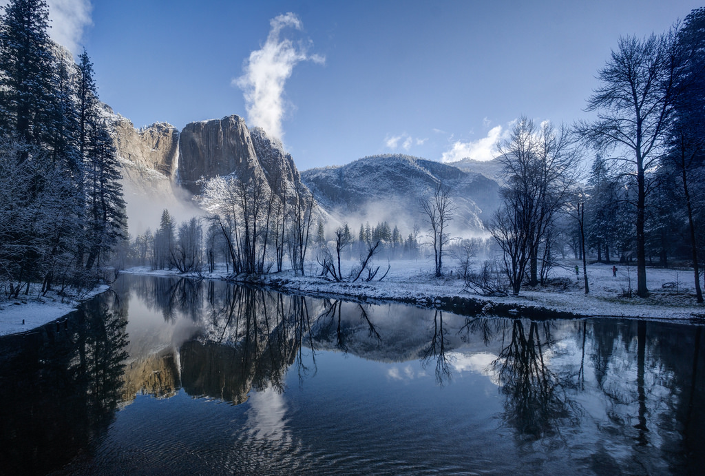 Yosemite Falls reflected in the Merced R by rjshade, on Flickr
