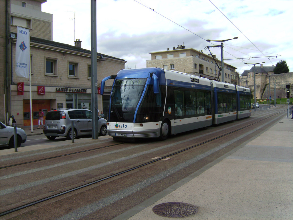 Rubber-tyred tram in Caen, France by vitalyzator, on Flickr