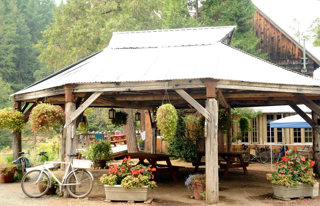 Metal roof wood gazebo, bikes, flowers, by Wonderlane, on Flickr