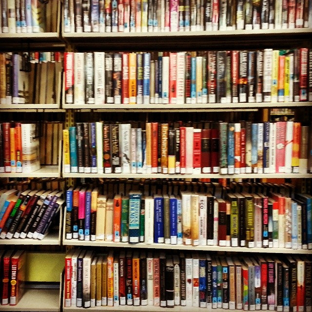 library shelves by burnbless, on Flickr