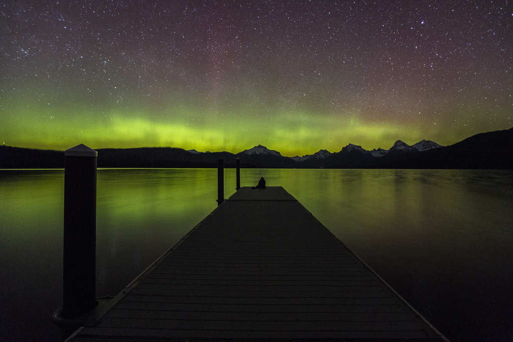 Lake McDonald Dock and Aurora by GlacierNPS, on Flickr