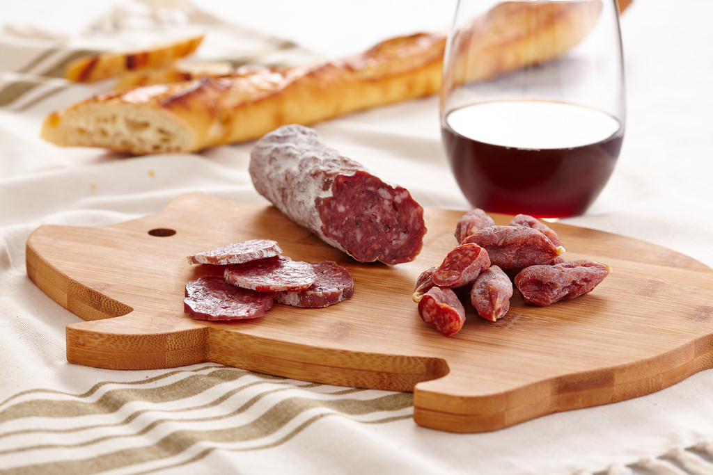 smoked meat salami on pig shaped cutting by Berries.com, on Flickr