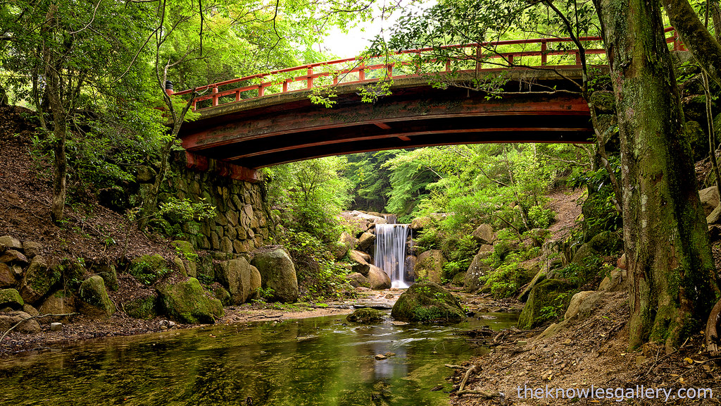 Waterfall and bridge in Japan forest by The Knowles Gallery, on Flickr