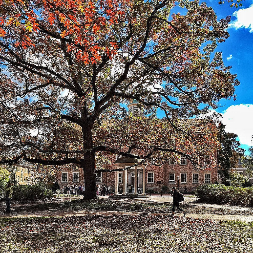 UNC Chapel Hill campus in the fall, with by Jed.Record, on Flickr