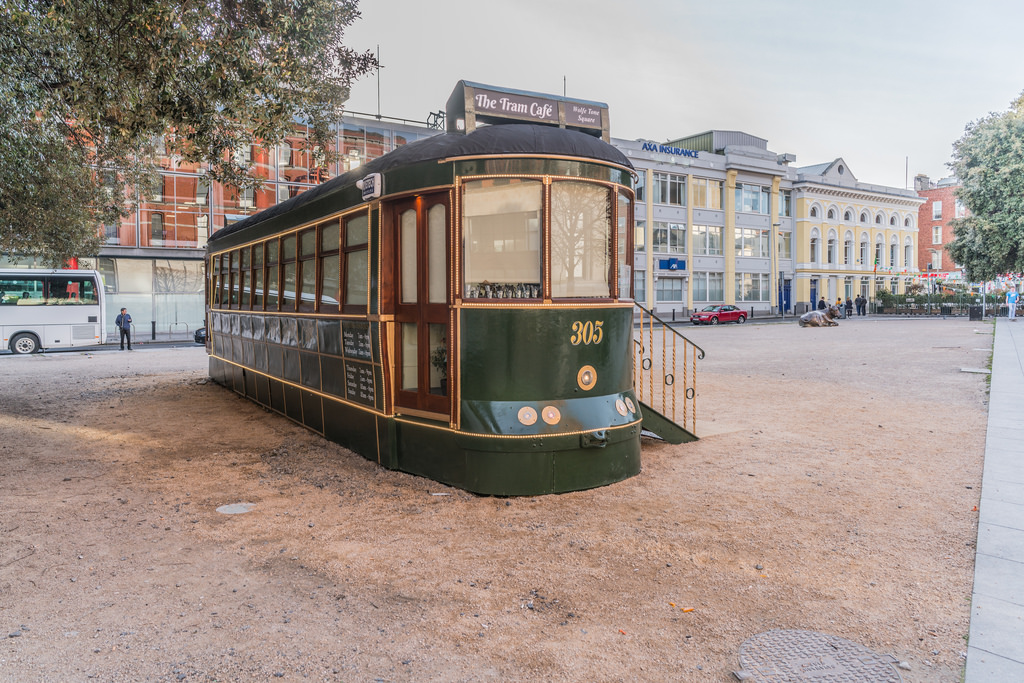 VINTAGE TRAM CAFE AT WOLFE TONE SQUARE [ by infomatique, on Flickr