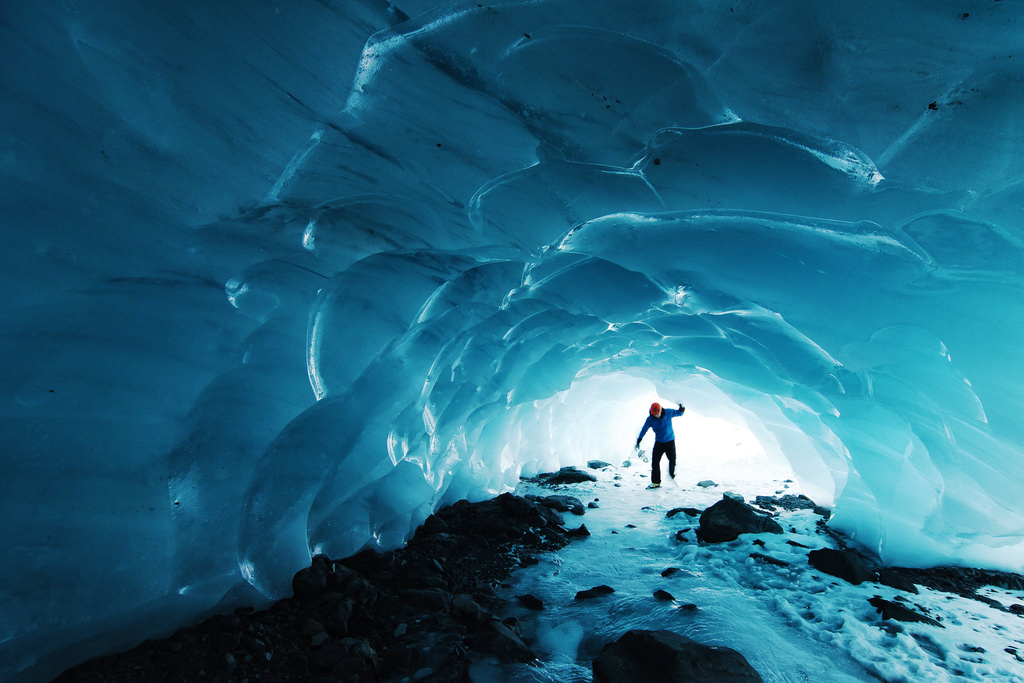 Skating into an ice cave. Byron Glacier, by Paxson Woelber, on Flickr