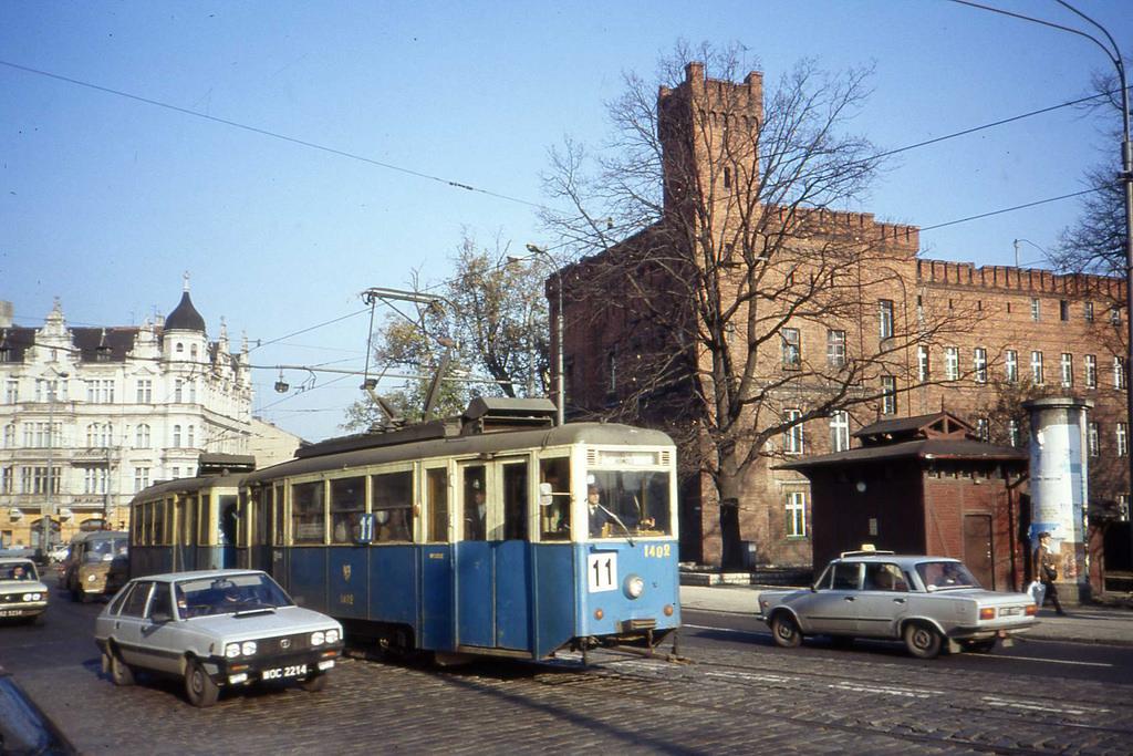 FSO MR'87 Polonez car and Konstal N tram by sludgegulper, on Flickr