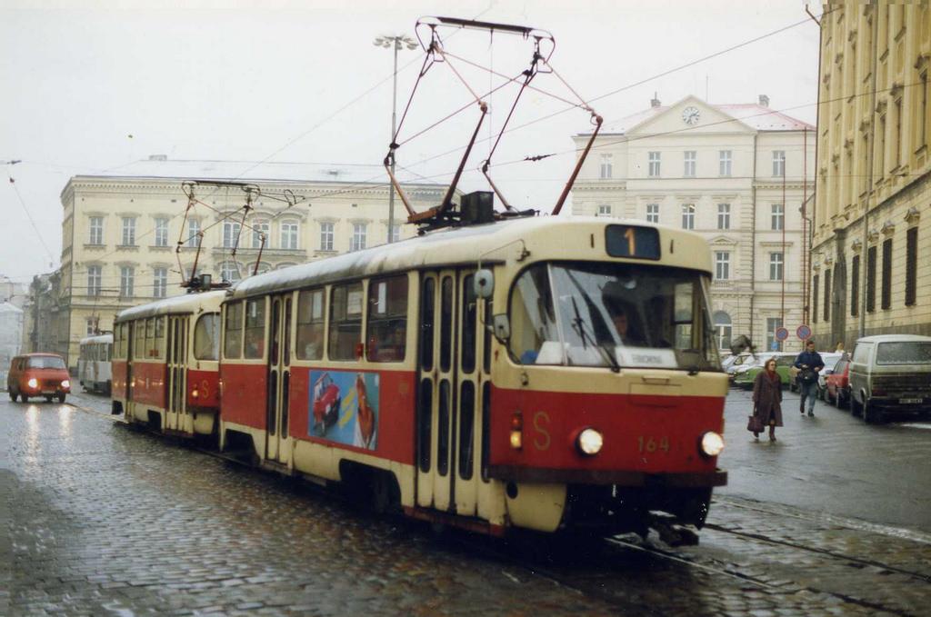Olomouc Tramvaj  Czechoslovakia Feb 1992 by sludgegulper, on Flickr