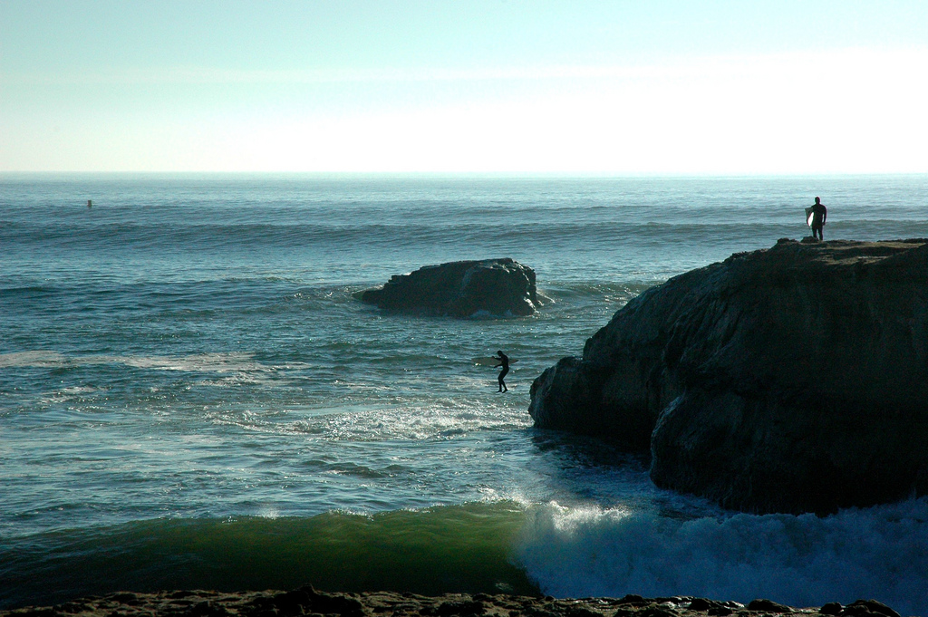 Surfer jumps into the Pacific Ocean wave by Wonderlane, on Flickr