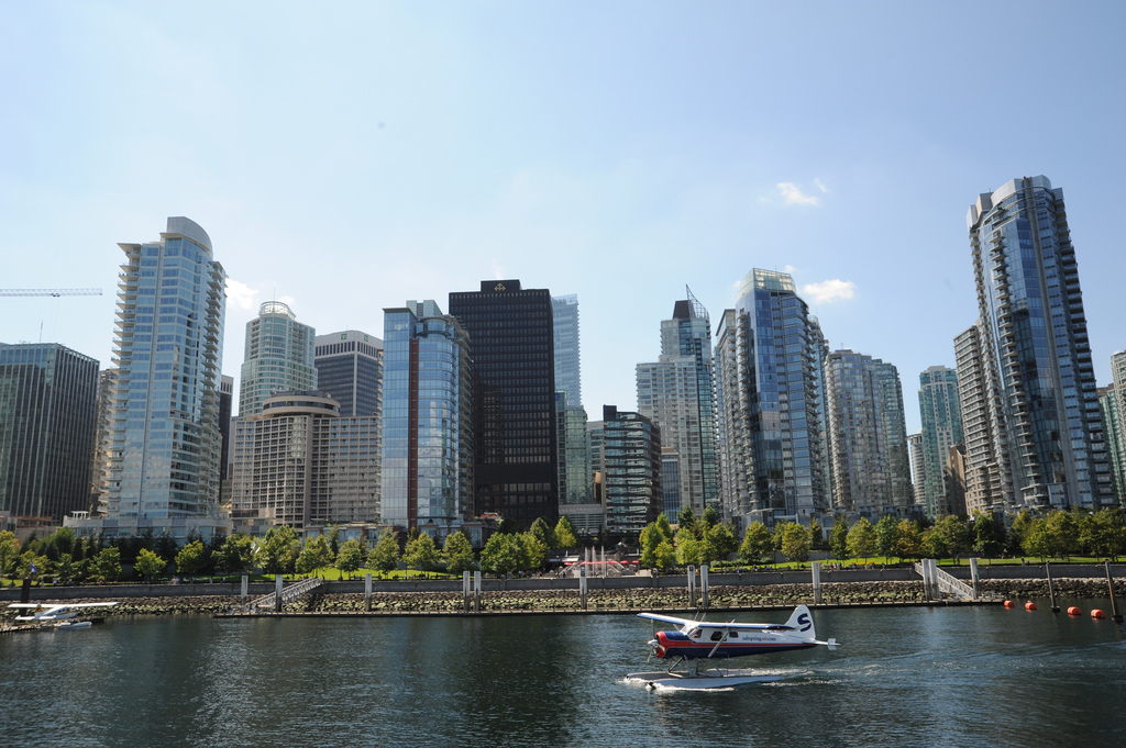 Float plane landing in Vancouver BC harb by Wonderlane, on Flickr