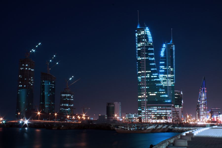 Kingdom of Bahrain Skyscrapers at night by justDONQUE.images, on Flickr