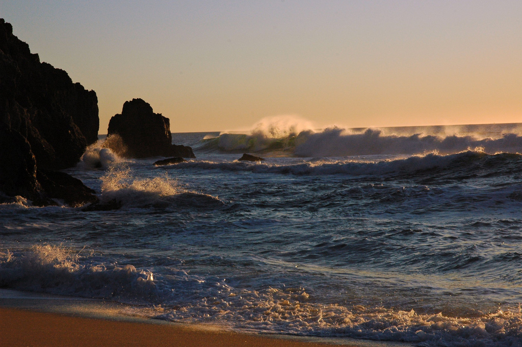Waves wildly wash ashore at sunset, Gray by Wonderlane, on Flickr