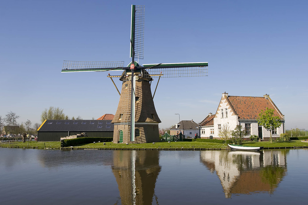 Windmill and old houses in Schipluiden by waterwin, on Flickr