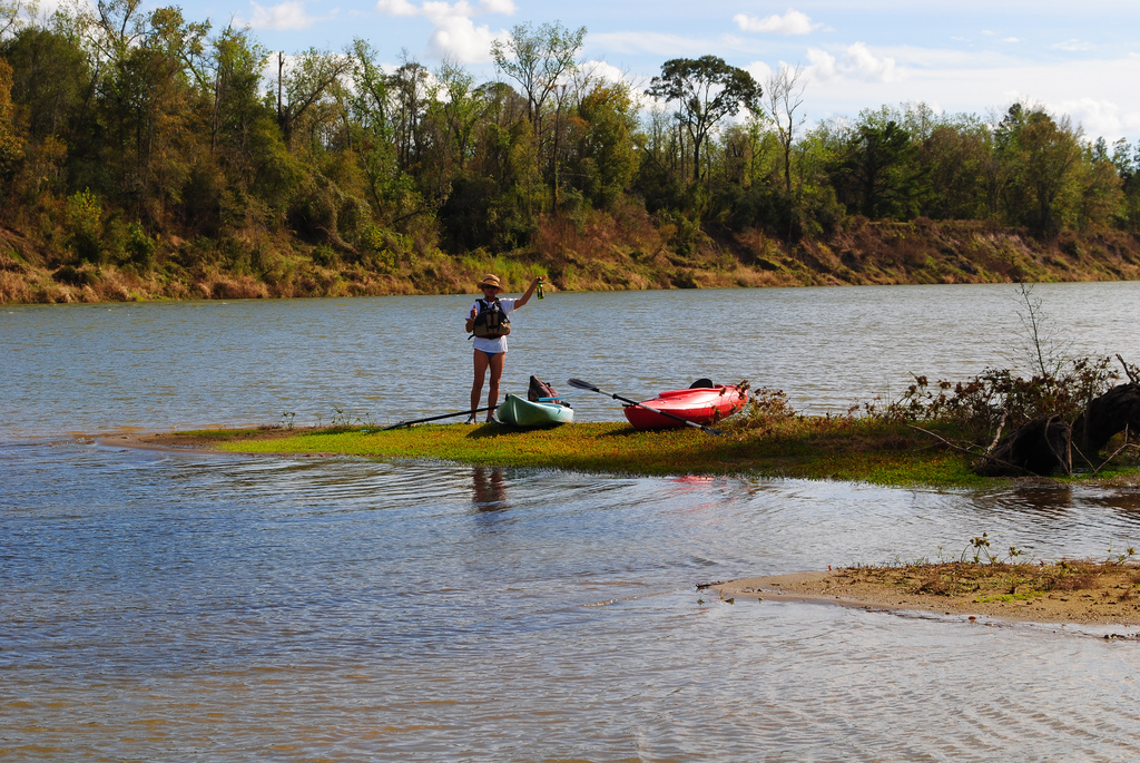 Dos Kayaks and Dos Equis, Trinity River, by Patrick Feller, on Flickr