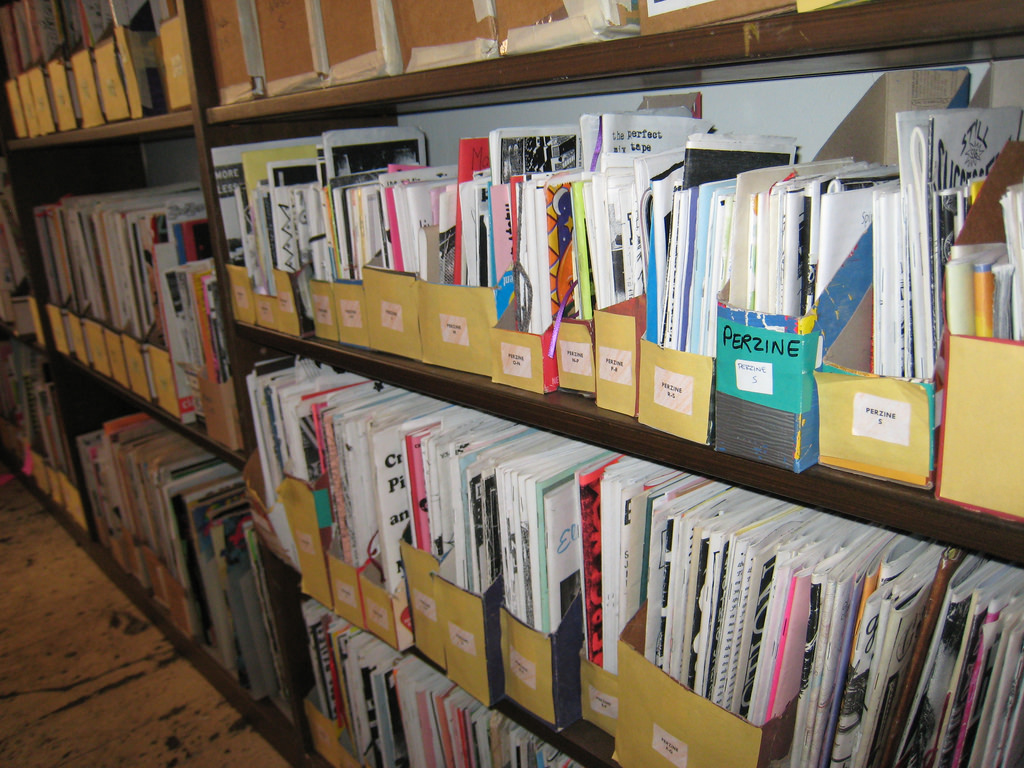 """Zine """"stacks"""" at the Denver Zine Library by Colorado College Tutt Library, on Flickr"""