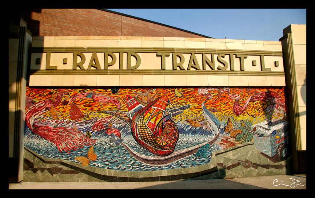 Pink Line Western Stop Mural by Hector D by Señor Codo, on Flickr