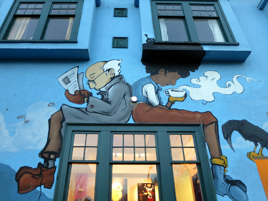 Coffee shop mural by Ruth and Dave, on Flickr