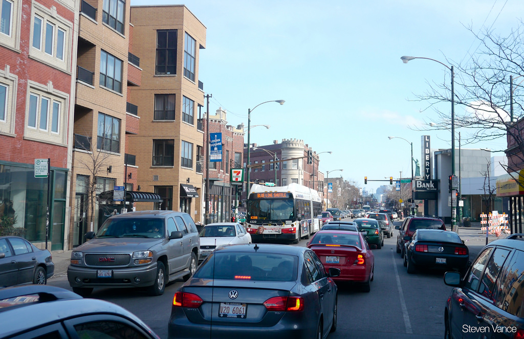 Traffic jam on Milwaukee Ave. during Blu by Steven Vance, on Flickr