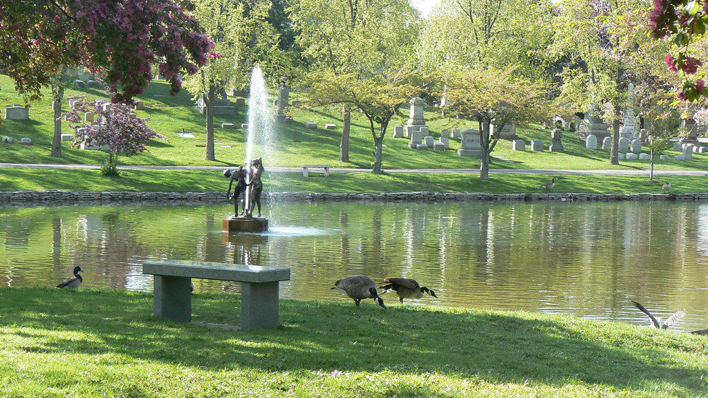Fountain in Mirror Lake, Forest Lawn by ~Sage~, on Flickr