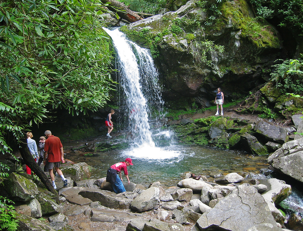 Grotto Falls with People by pfly, on Flickr