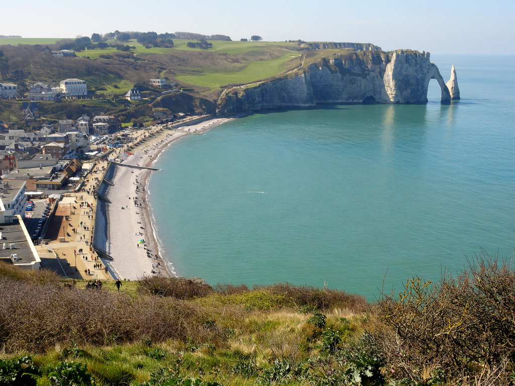 Etretat and Falaise d'Aval from Chapel N by travelourplanet.com, on Flickr