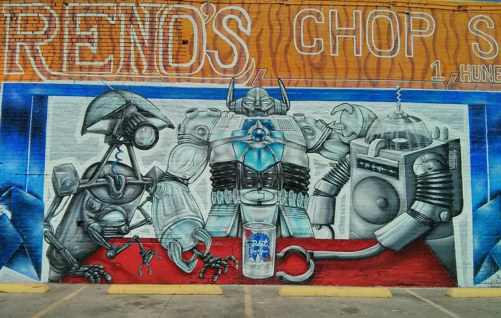Deep Ellum robot mural by steevithak, on Flickr