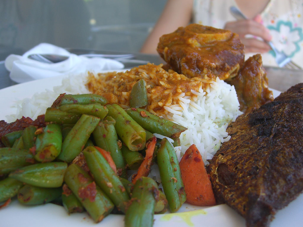 Fried Fish, Lamb Curry, French Beans wit by avlxyz, on Flickr