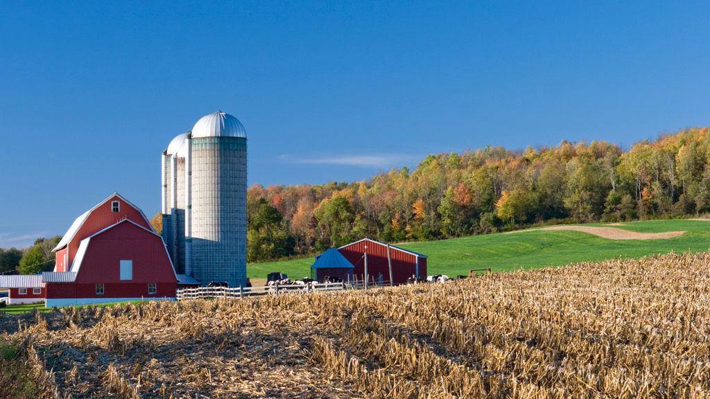 Dairy farm with red barn in autumn by USDAgov, on Flickr