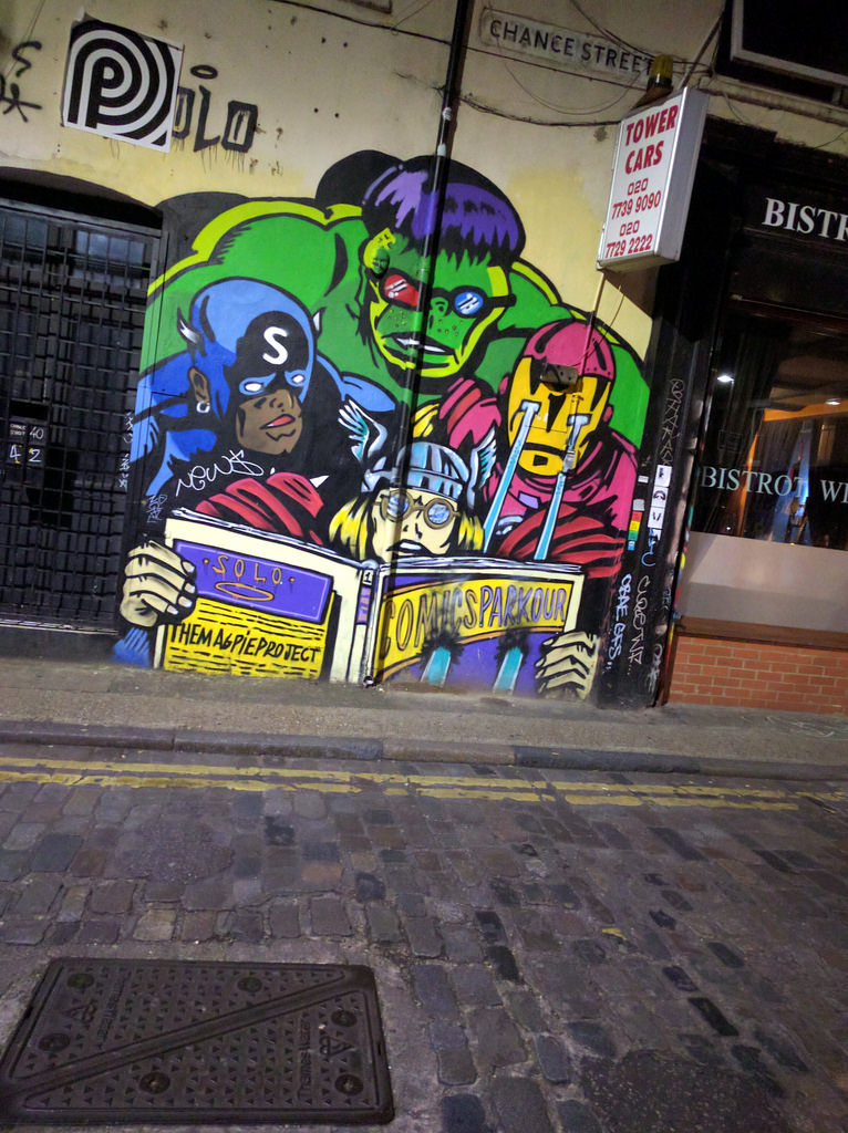Comics Parkour diverse superheroes mural by gruntzooki, on Flickr