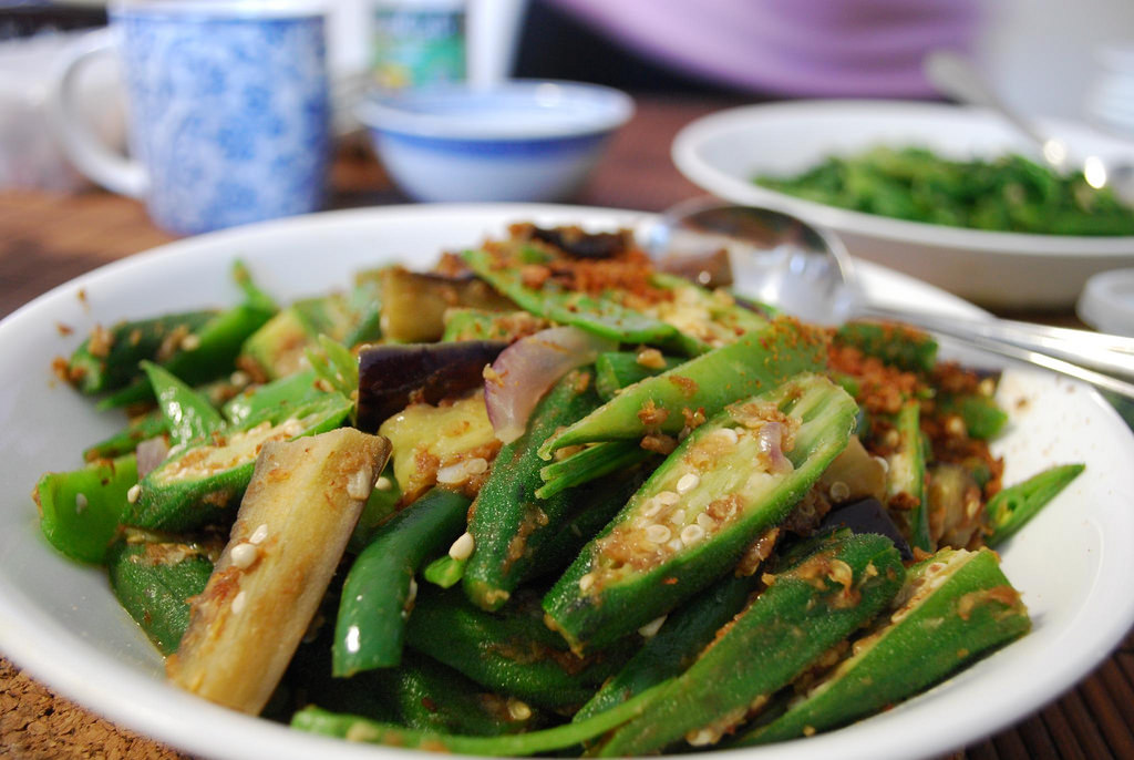 Mum's Okra, Eggplant, French Beans, Snow by avlxyz, on Flickr