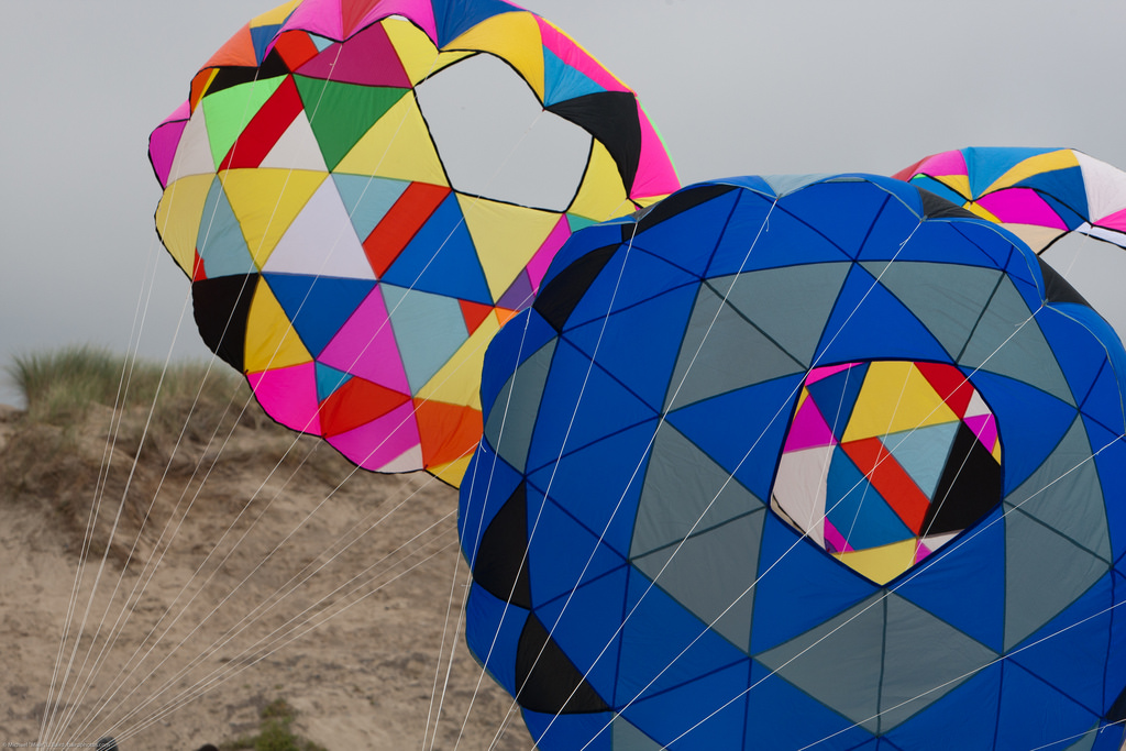Three Spherical Kites at a Kite Race Eve by mikebaird, on Flickr