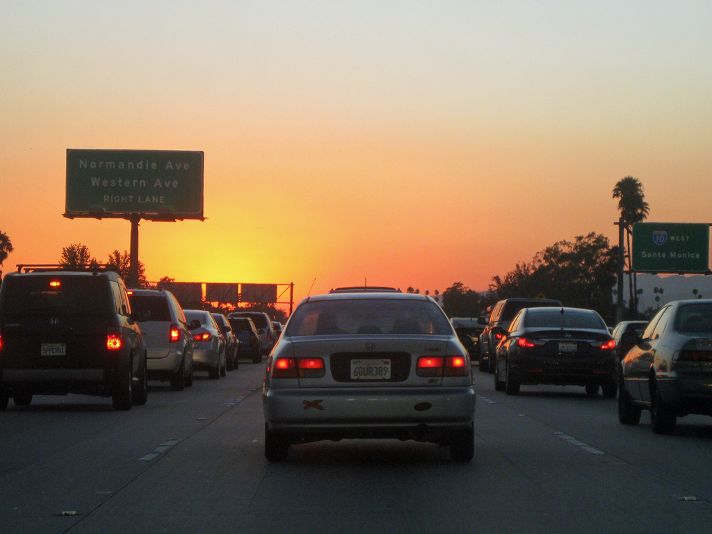Sunset while stuck in traffic on the 10 by bossco, on Flickr