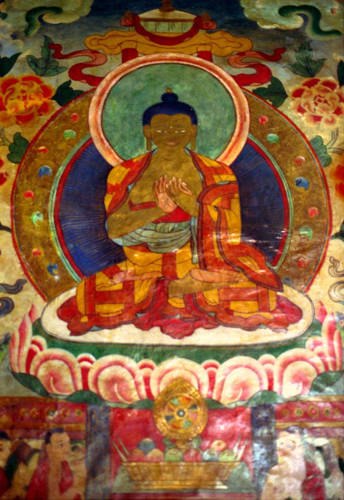 Tibetan wall mural of Lord Buddha in gol by Wonderlane, on Flickr