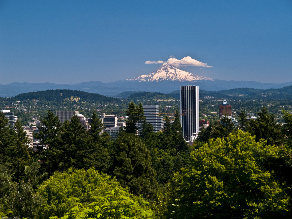Mt. Hood and Portland skyline, July 2008 by ThinHouse, on Flickr
