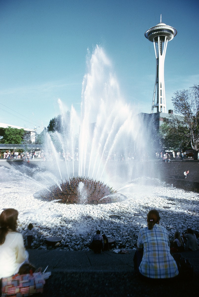 International Fountain and Space Needle, by Seattle Municipal Archives, on Flickr