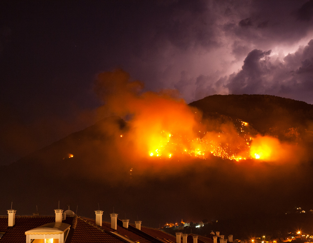 Lightning, mountain and fire by Alexandra Zakharova, on Flickr