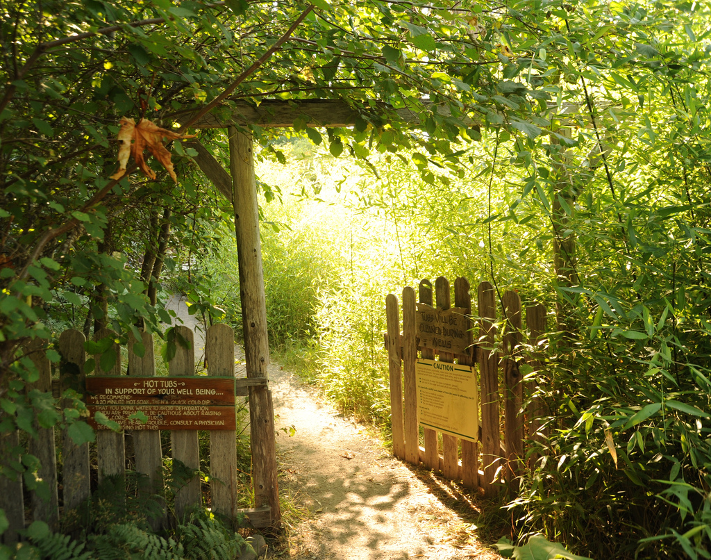 """Path, gated entrance reading """"Hot Tubs - by Wonderlane, on Flickr"""