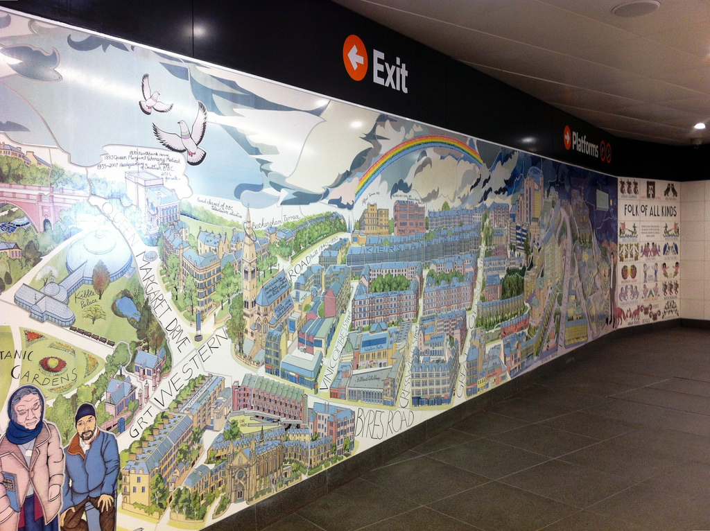 Alasdair Gray mural, Hillhead Station by yellow book, on Flickr