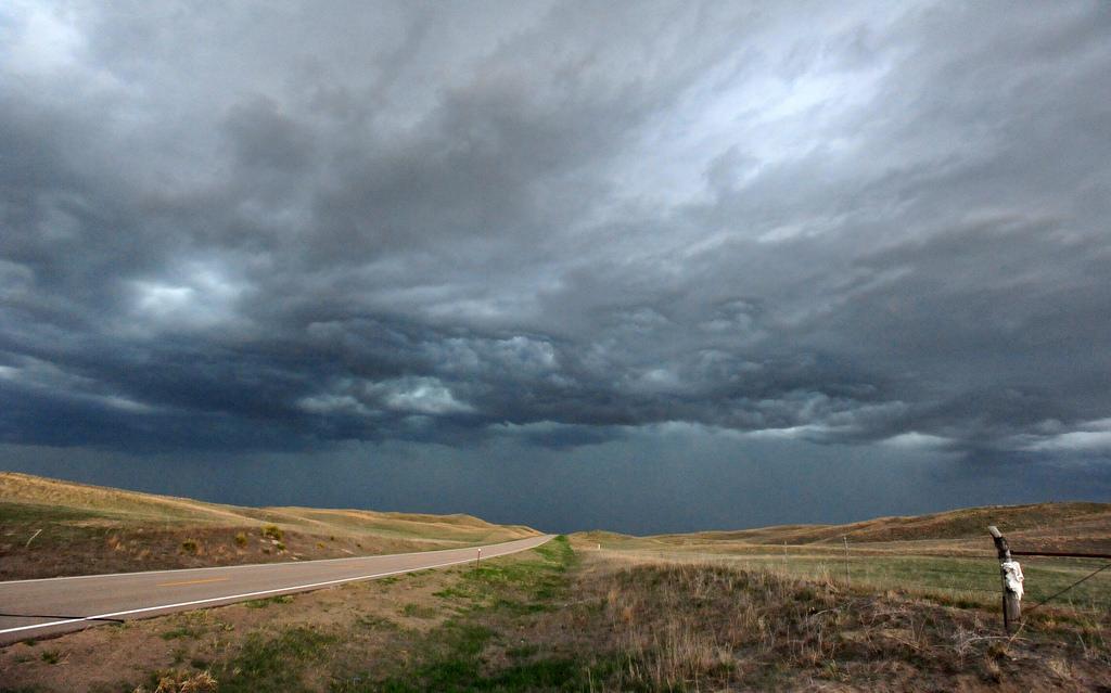 Long lonely Nebraska road by State Farm, on Flickr