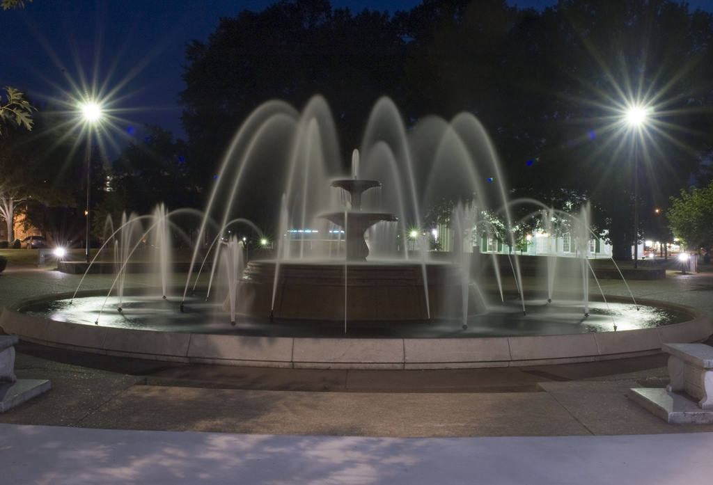 Wilson Park Fountain Night by KE4SFQ, on Flickr