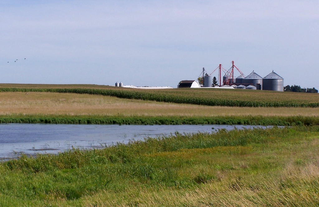 Iowa farm with buffered wetland by Plains and Prairie Potholes Landscape Conservation, on Flickr