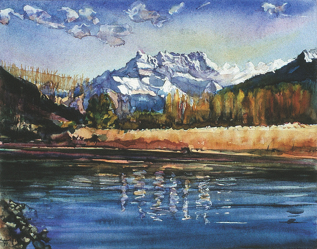 """River """"Eau-froide"""" at Villeneuve - water by Landscape/ People in oil paint watercolor etching, on Flickr"""