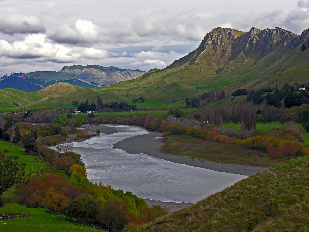 Tukituki River and Te Mata Peak, Hawkes by PhillipC, on Flickr